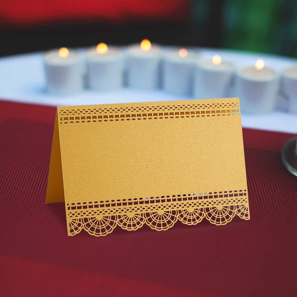50 Pezzi Oro Nome Luogo Carte Tavolo Intagliato SegnaPosto segnaposto Decorazioni per Matrimonio Compleanno Festa