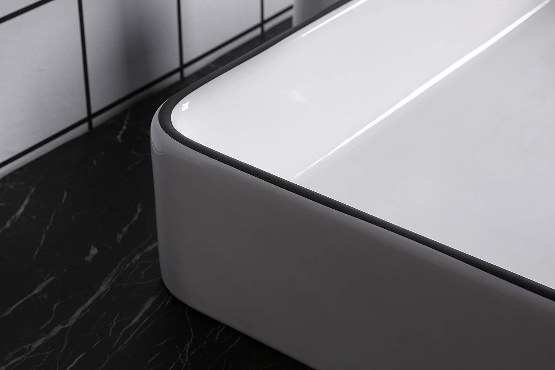 Waschbecken Aufsatzwaschbecken Waschtisch Handwaschbecken Rechteckig Schwarz Wei/ß hochwertige Keramik Hochglanz mit Lotus Effekt Farbe Rechteckig Schwarz//Wei/ß 3