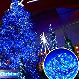 GAXmi Waterproof LED Copper Wire String Lights 10 Meter/32.8 feet Indoor Outdoor Corded-Electric Rope Light Fairy Starry Deck Lighting for Christmas Wedding Blue