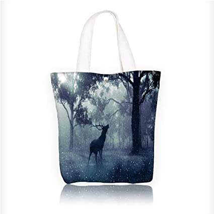 Amazon.com  Canvas Tote Handbag Big forests and deer in dense fog ... 7fd29bd236b43