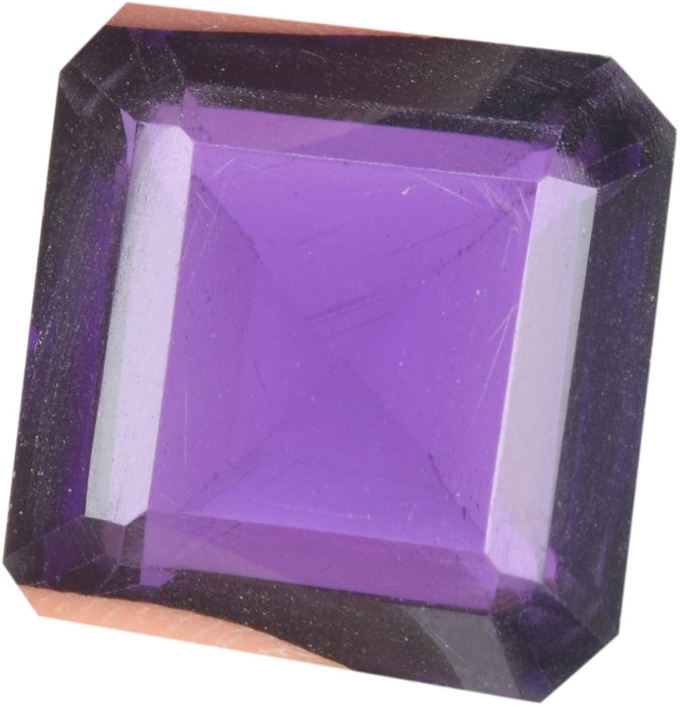 Gemhub Hermosa Amatista Violeta de 19,50 CT de tamaño Colgante de Amatista Violeta, Corte Cuadrado Violeta Amatista de Piedra Suelta BM-890