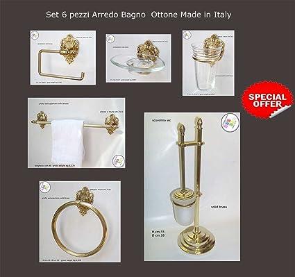 Accessori Bagno In Ottone.Arredo Bagno Set 6 Pezzi Ottone Lucido Alta Qualita Made Italy
