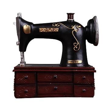 GONGYIPW Máquina de Coser Antigua de Estilo Retro Hucha de Resina Artesanías Adornos creativos Accesorios de