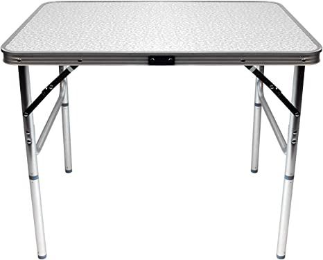 Wohaga Mesa Plegable de Aluminio Amsterdam 75x55xH60cm, Plegable y Liviana portátil, Mesa Auxiliar para Camping