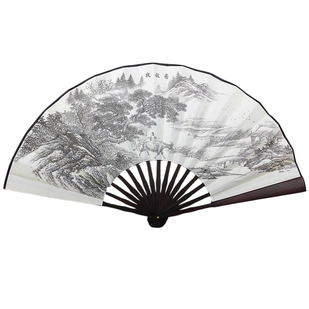 Chinese Traditional Kranker Fan mit weidenden Muster