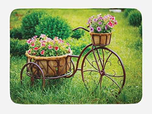 Ambesonne Flower Bath Mat, Vintage Antique Rusty Bike with a Basket Flowers in a Spring Time Garden Photo Print, Plush Bathroom Decor Mat with Non Slip Backing, 29.5 W X 17.5 L Inches, Multicolor