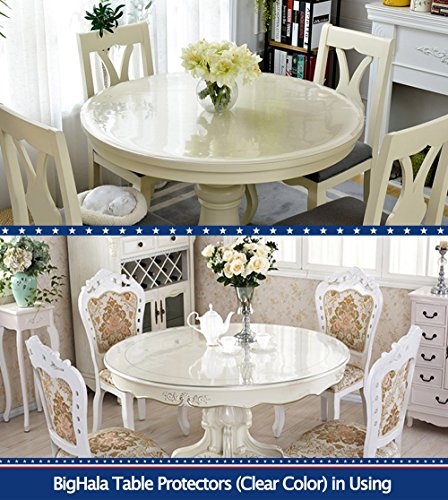 Eco Thicken Clear PVC Round Table Protector Cover Clear Plastic Round  Tablecloth Wipeable Waterproof Protective Furniture Table Top Cover Round  Dining Table ...