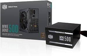 Cooler Master MWE 500 Bronze, 80+ Bronze Certified 500W Power Supply, 3 Year Warranty