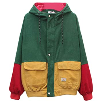 Gjyia Mujeres Unisex Color Bloque Patchwork Corduroy ...