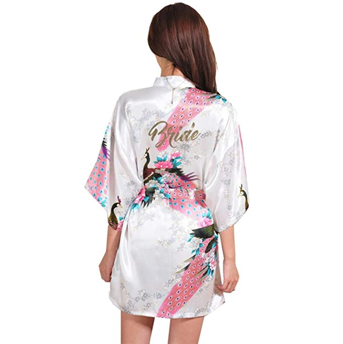 5ee9cc31e8e Women Silk Satin Short Night Robe Solid Kimono Robe Fashion Bath Robe Sexy  at Amazon Women s Clothing store