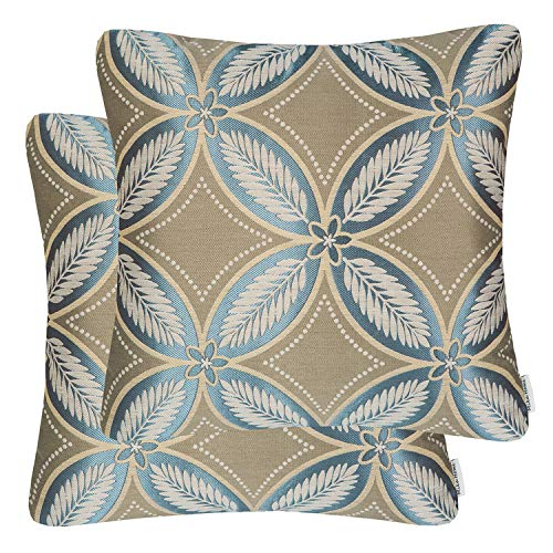(Mika Home Pack of 2 Square Accent Pillow Covers Decorative Pillow Cases for Couch Sofa Bed,Diamond Pattern,20x20 Inches,Taupe Blue)