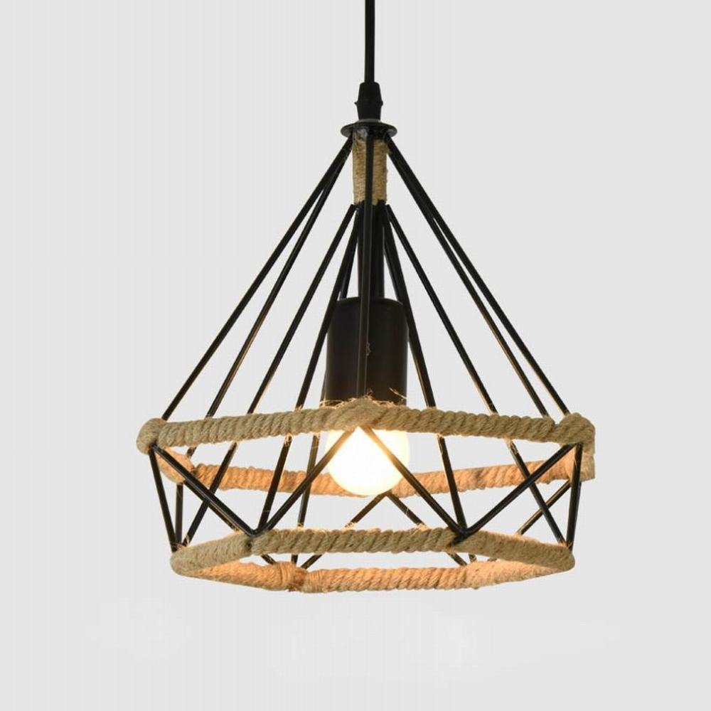 DEN Nordic vintage wrought iron chandelier Personalized nostalgic hemp rope industrial wind diamond restaurant creative light,A,38CM