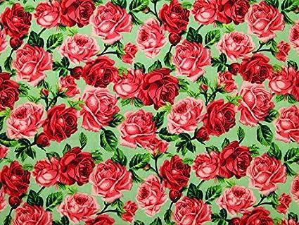 Estilo Vintage Vestido Rosa de flores polialgodón tela verde y rojo – por metro