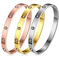 Gold Plated Bangle Bracelets for Teen Girls Jewelry, Stainless Steel Love Bracelets with Cubic Zirconia/CZ for Women…
