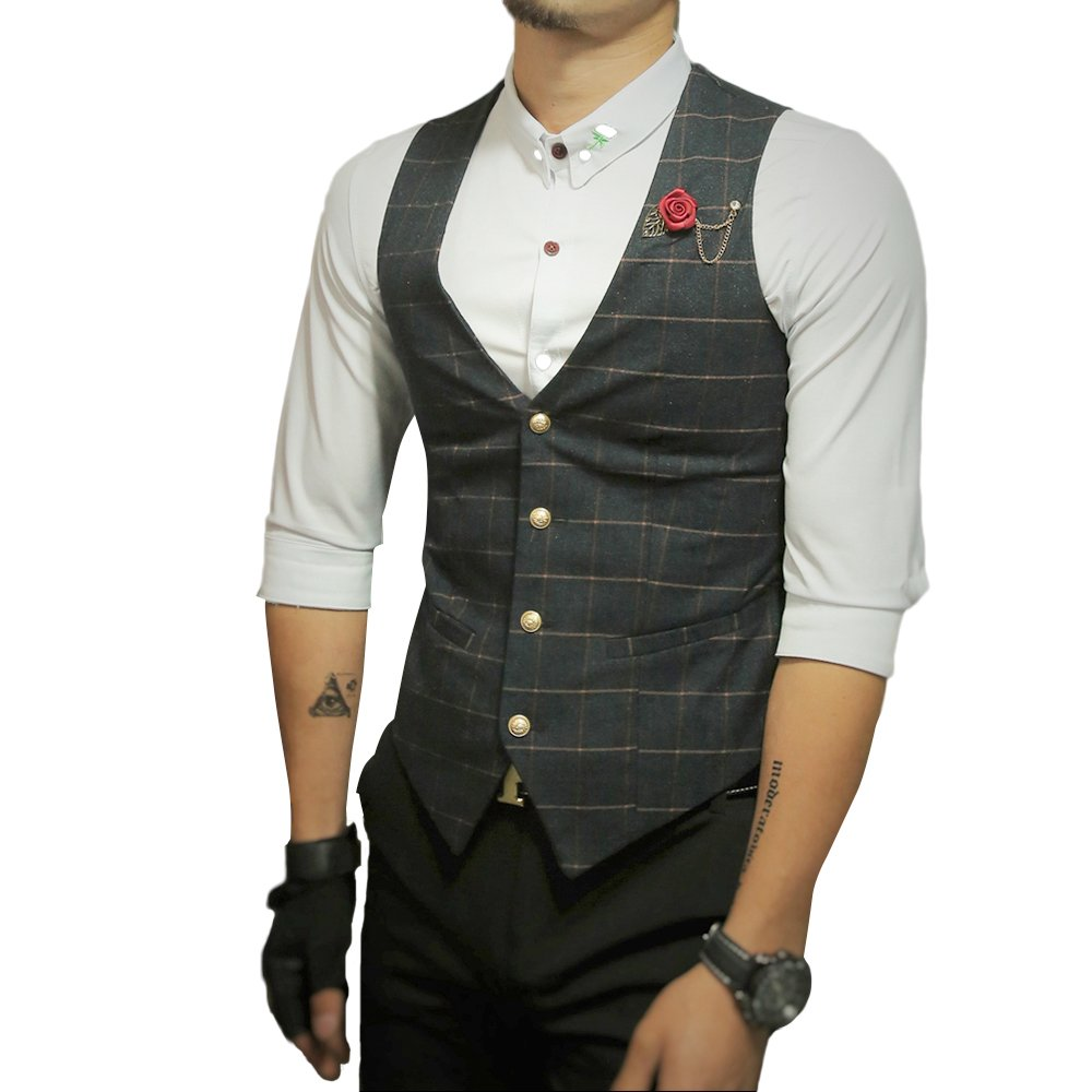 Cloudstyle Mens Designed Casual Tweed Checked Waistcoat Sleeveless V-Neck Vest Vintage Fashion YDA421-8710