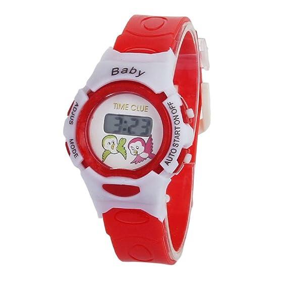 Transer reloj deportivo chicos chicas estudiantes tiempo pulsera electrónica Digital Sport Watch rojo: Amazon.es: Relojes