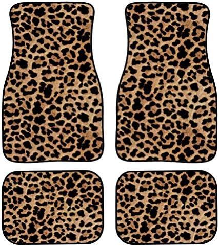 Dellukee Decorative Car Floor Mats Leopard Print All Weather Non Slip Universal Fit Car Floor Carpet Best for Car SUV Truck Van Heavy Duty