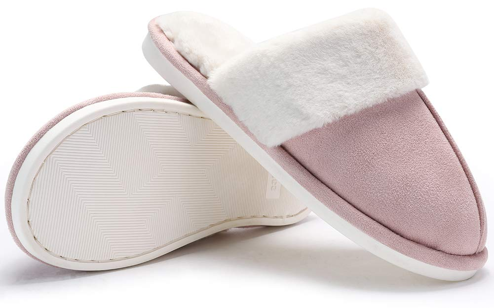 CAMEL CROWN Women\'s Comfort Fleece Memory Foam Slippers Slip-on Clog House Shoes Indoor Use (Pink, 6.5-7 N (A) US)