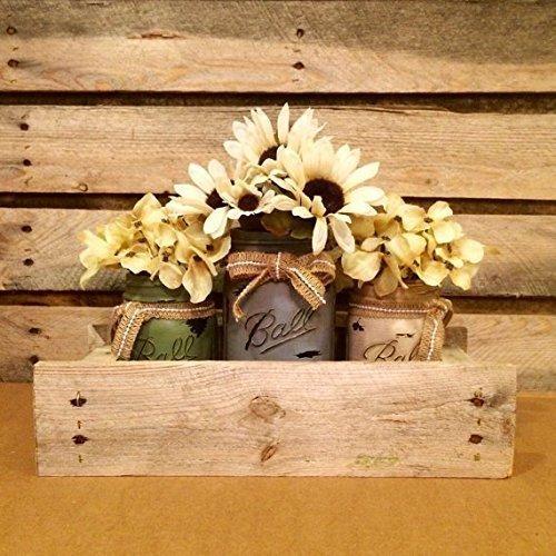 Antique Finish Mason Jars in Primitive Pallet Box, Rustic Mason Jar Centerpiece, Shabby Mason Jar Table Decor, Housewarming -