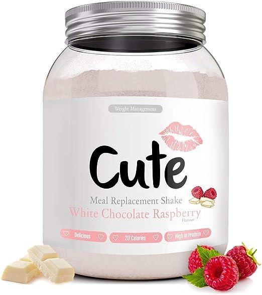 Cute Nutrition Batido Sustitutivo de Comida Sabor Chocolate Blanco Frambuesa para el Control de la Pérdida de Peso en Polvo Bebida Dietética para ...