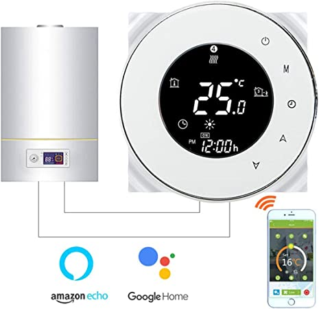 ramasser la meilleure attitude magasiner pour véritable Thermostat WiFi pour chaudière gaz/eau,Thermostat intelligent Écran LCD  Bouton tactile Rétro-éclairé programmable avec Alexa Google Home(NO google  ...