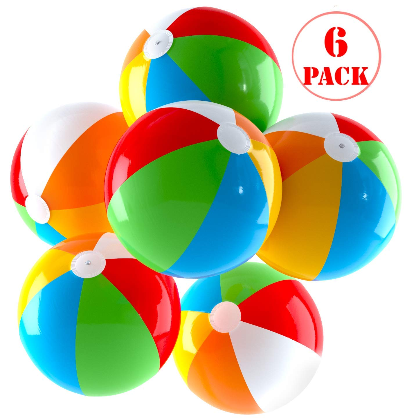 Inflatable Beach Balls Jumbo 24 inch for The Pool, Beach, Summer Parties, and Gifts | 6 Pack Blow up Rainbow Color Beach Ball (6 Balls) by Top Race