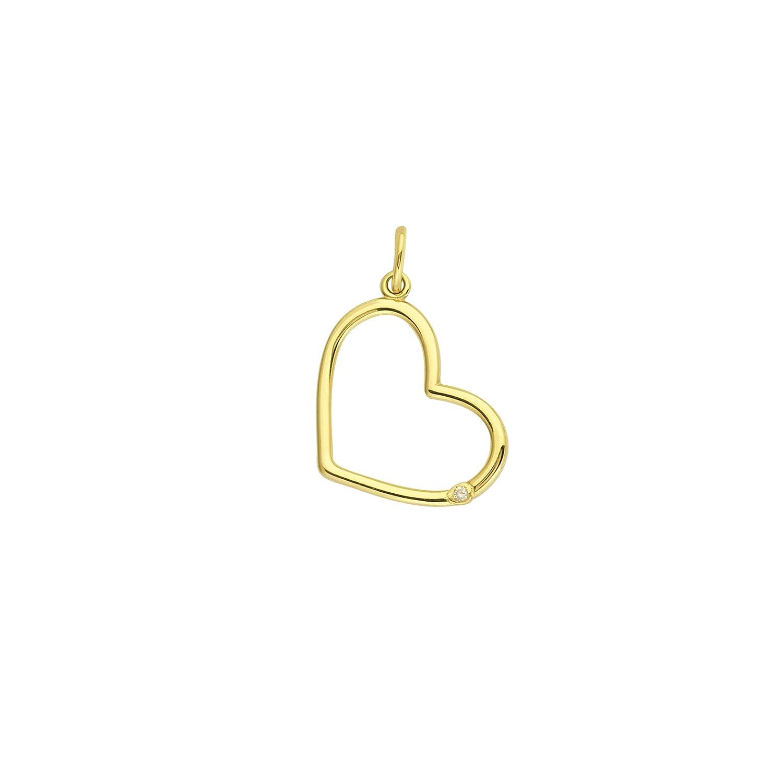 Heart Pendant 14kt Gold 1 Pt Diamond Open Heart Pendant