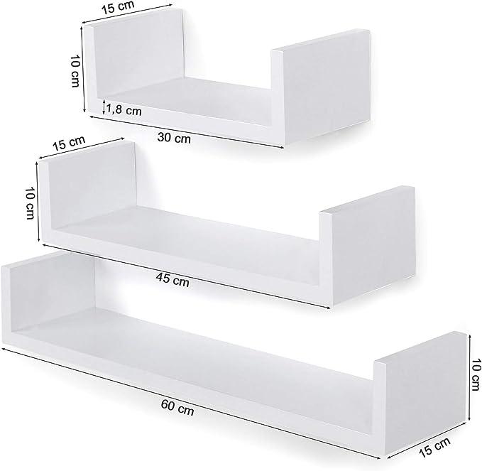 SONGMICS Juego de 3 estantes para Libros CDs Estanter/ías de Pared Cubos Retro Blanco LWS102