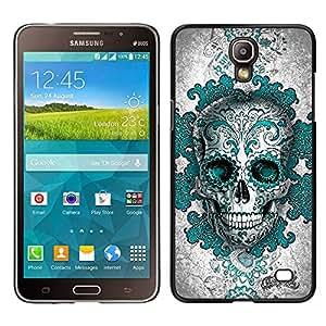 Samsung Galaxy Mega 2 , JackGot - Impreso colorido protector duro espalda Funda piel de Shell (Teal Blanco Negro Gris cráneo Tinta Muerte)