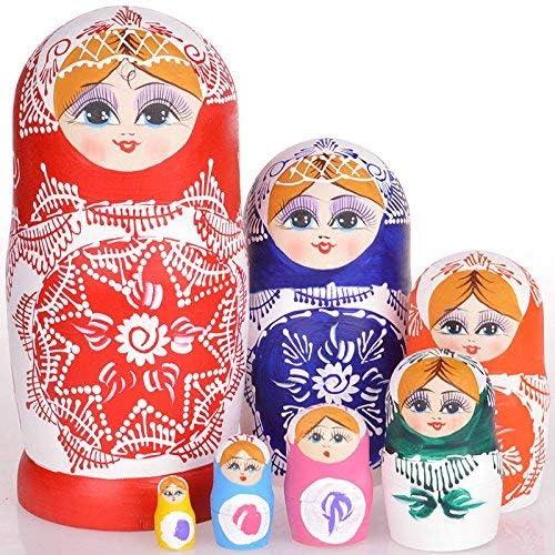 2# 7 St // Set Holz Russische Matrjoschkapuppen Getrocknete Linde Traditionell Authentic Handgefertigt Matrjoschka Kinder Geschenk Dastrues Russisch Puppen