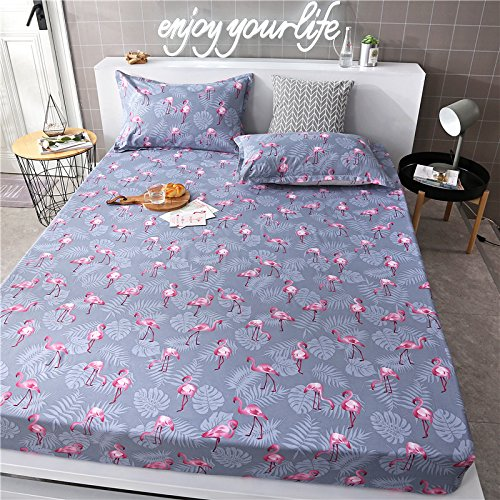 "Discount KFZ Fitted Sheet Bedsheet Without Pillowcases Used for Bedding Duvet Cover Set Microfiber Fabric ZF Twin Full Queen Bunny Pig Flamingo Animal Cartoon Design (Flamingo Leaf, Green, Full 53""x78"") for sale"
