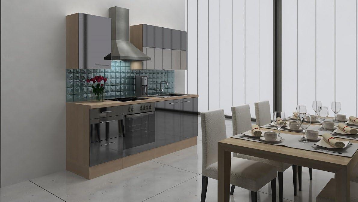 respekta Premium Instalación de Cocina Cocina 220 cm, vitrocerámica Acacia Negro Brillo: Amazon.es: Hogar