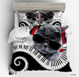 Excellent Piano Music Cat Cotton Microfiber 3pc 80''x90'' Bedding Quilt Duvet Cover Sets 2 Pillow Cases Full Size