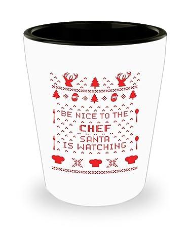 Amazoncom Be Nice Chef Santa Is Watching Ugly Christmas Sweater