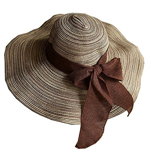 ZZCC Women's Foldable Wide-brimmed Beach Hat Summer Sun Beach Hat