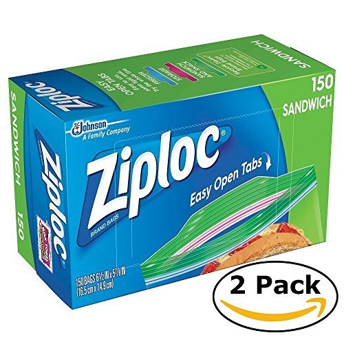 Price comparison product image Ziploc Sandwich Bags (150 bags x 2 = 300 bags),  Clear