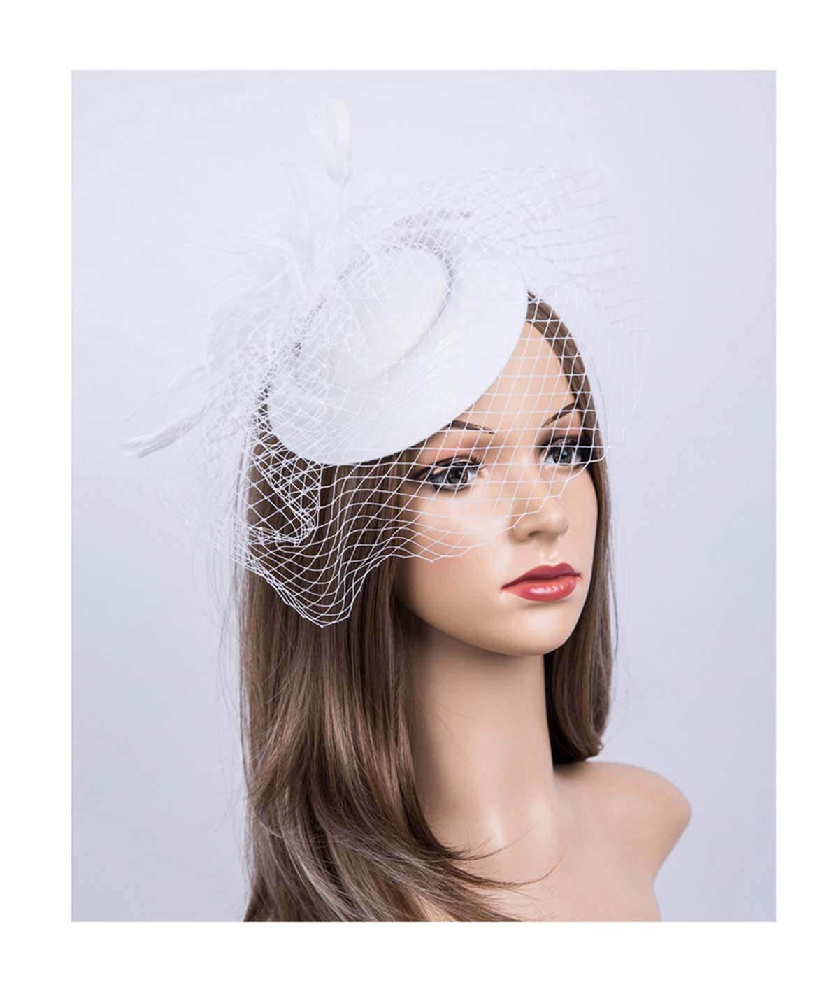 Fascinators Hats 20s 50s Hat Pillbox Hat Cocktail Tea Party Headwear Veil Girls Women(B-White)