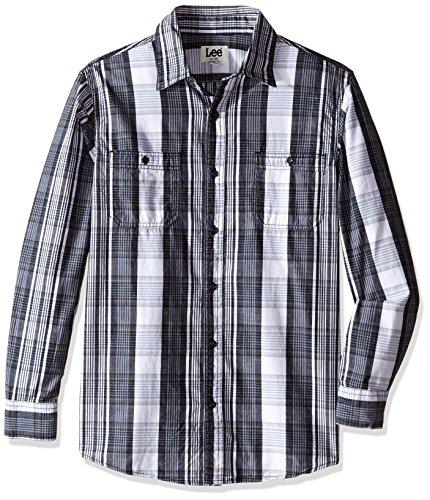 LEE Men's and Tall Charles Shirt, Black/Grey, 2X Big (US Size) (US (Charles Cotton Yarn)