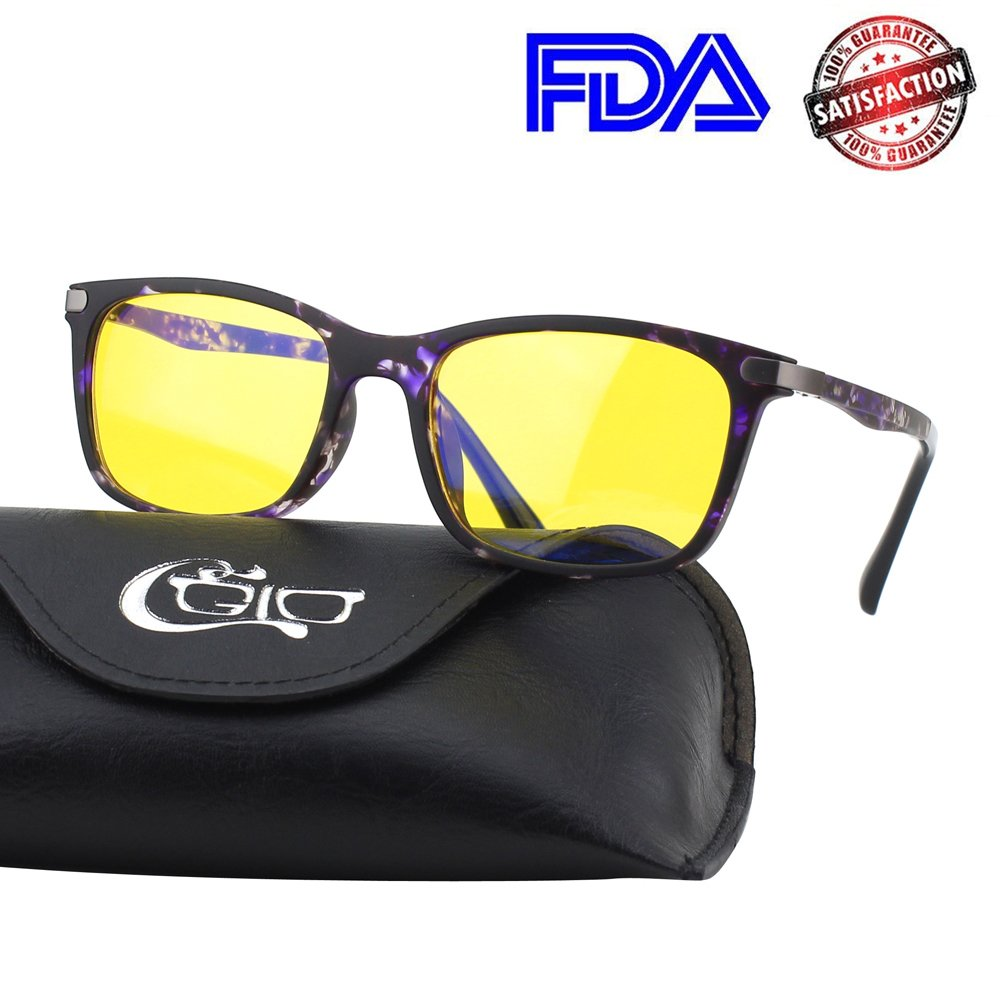 CGID CY46 Premium TR90 Frame Blue Light Blocking Glasses,Anti Glare Fatigue Blocking Headaches Eye Strain,Safety Glasses for Computer/Phone/Tablets,Rectangle Flexible Unbreakable Frame,Yellow Lens