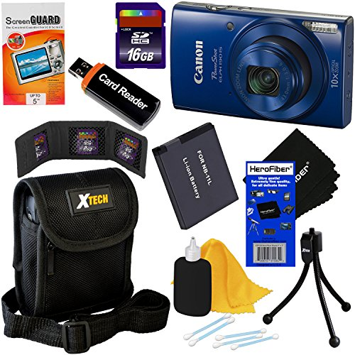 Canon PowerShot ELPH 190 IS Wi-Fi Digital Camera with 10x Zoom & HD video, Blue (International Version) + NB-11L Battery + 8pc 16GB Accessory Kit w/ HeroFiber Gentle Cleaning Cloth Review