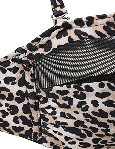 DAWILS Mujer Moda Leopardo Bikinis Push Up Cintura Alta Trajes de baño Halter Escotado Ropa de baño leopardo