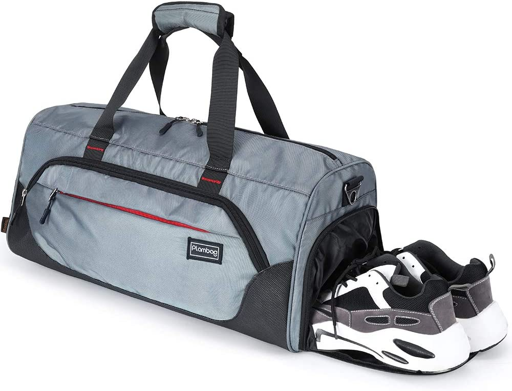 Water-repellent Travel Weekender Bag Black Plambag Sports Duffel Gym Bag with Wet Pocket /& Shoe Compartment