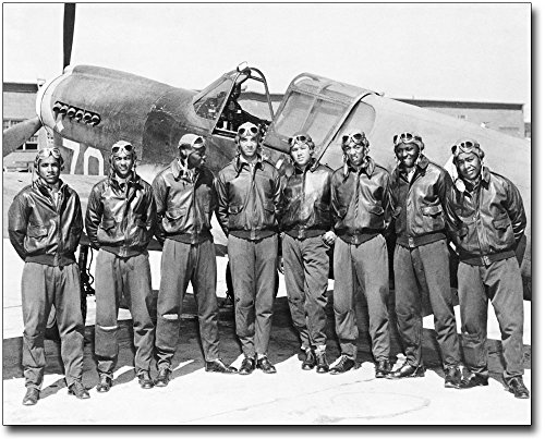 Tuskegee Airmen Posed w/ P-40 Warhawk WWII Museum Silver Halide Photo Print