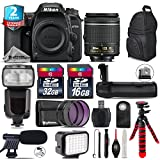 Holiday Saving Bundle for D7500 DSLR Camera + AF-P 18-55mm + Flash with LCD Display + Battery Grip + Shotgun Microphone + LED Kit + 2yr Extended Warranty + 32GB Class 10 - International Version