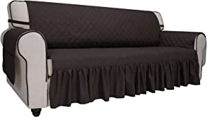 Easy-Going Sofa Slipcover Skirt Sofa Cover Waterproof Couch Cover with Pocket Furniture Protector Cover with Elastic Straps for PetsKidsChildrenDogCat(Sofa,Chocolate)