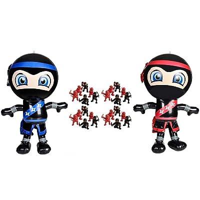 Novelty Treasures Ninja Birthday Party Set 2 Ninja Inflate Decorations and 24 Mini Ninja Action Figures: Toys & Games