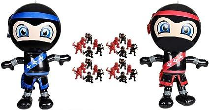 Novelty Treasures Ninja Birthday Party Set 2 Ninja Inflate Decorations and 24 Mini Ninja Action Figures