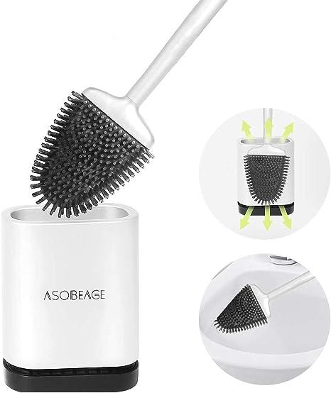 MEKEET Silicone Toilet Brush and Holder,Bathroom Toilet Brush Holder Set,Silicone Toilet Cleaning Brush Kit with Soft Bristle Brush.