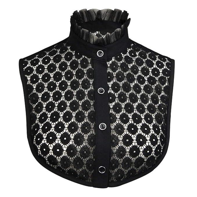 a67a00e2b6dac5 Joyci Women's Lace Flower Fake Collar Dickey Chic Ruffled Stand False Collar  (Black)