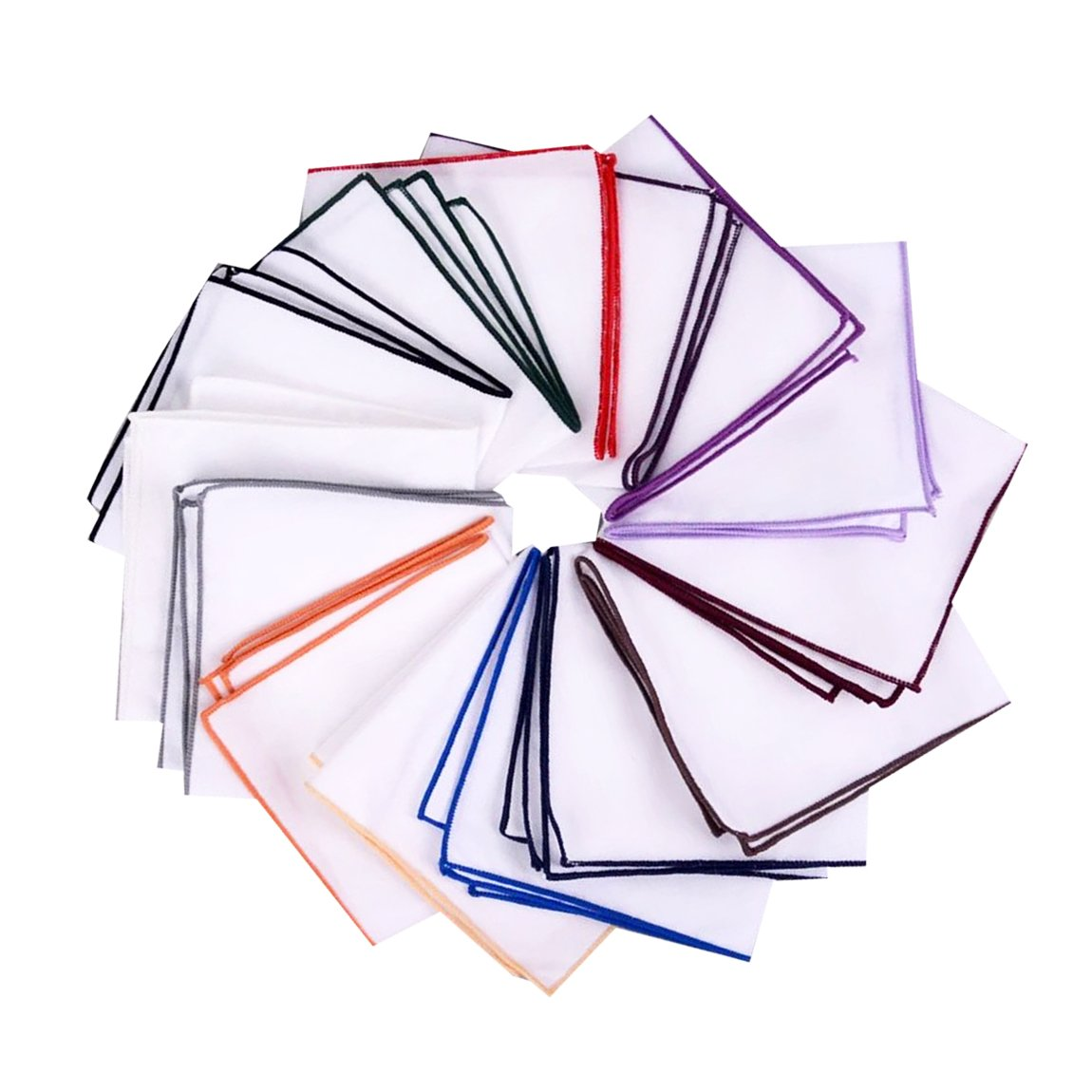 Assorted Pack of Mens Classic White Cotton Pocket Square for suits Handkerchiefs